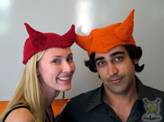 Devil Hat in red on Cathy (Sal's orange hat not available)