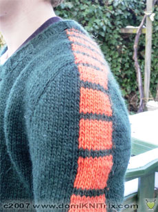 Detail of the Vrroom pullover shoulder