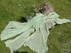 Miriam knit these shawls in 80 hours!